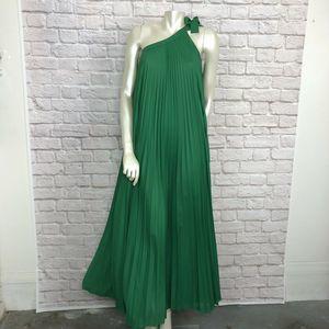 BCBGMaxazria XXS Green Maxi Dress ABEE OneShoulder